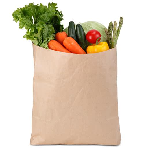 in túi giấy đựng rau quả